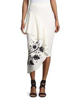 Leaf-Embroidered High-Waist Cady Skirt, White/Black