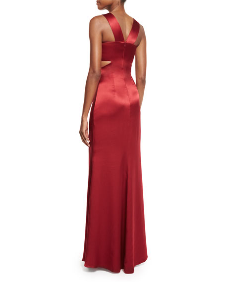 Eva Halter-Neck Bandeau Gown W/Cutouts, Ruby