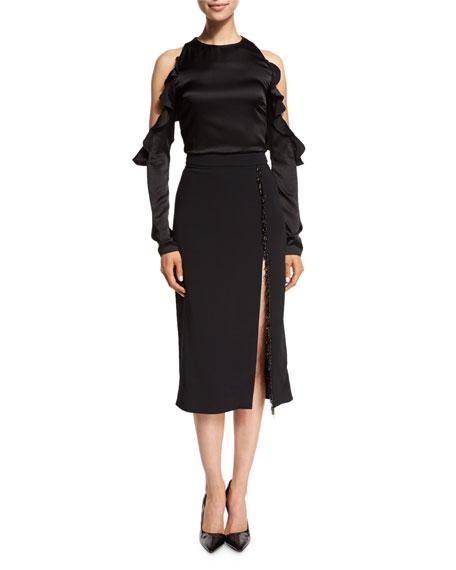 826457174 Cushnie Et Ochs Beaded-Trim High-Slit Pencil Skirt, Black