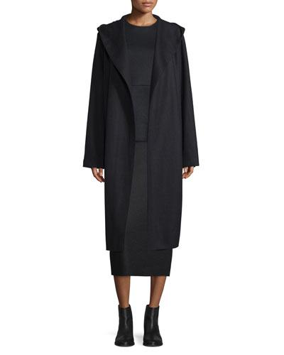 Marney Belted Hooded Coat, Black