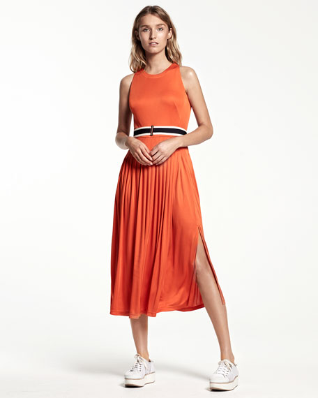 Belted Sleeveless Maxi Dress, Coral