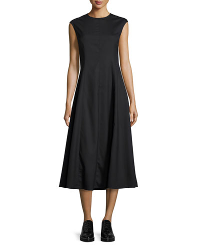 Cher Cap-Sleeve Midi Dress, Black