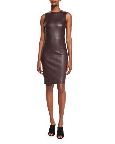Cobi Sleeveless Plonge Dress, Port