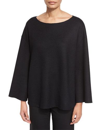 Marrine Knit Drop-Shoulder Top, Black