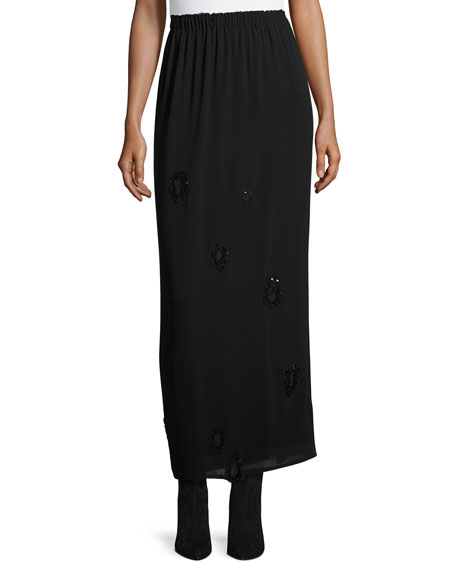 Beaded Georgette Maxi Skirt