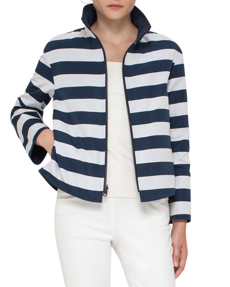 Striped Stand-Collar Jacket, Navy/Cream