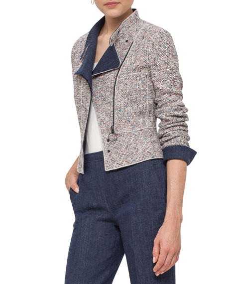 Tweed Denim Moto Jacket, Multi