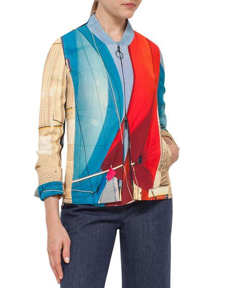 Sail-Print Bomber Jacket, Mainsail Print