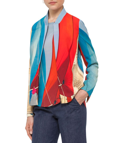 Akris punto Sail-Print Bomber Jacket, Mainsail Print