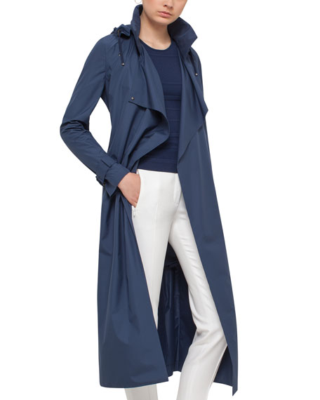 Long Hooded Trenchcoat, Deep Blue