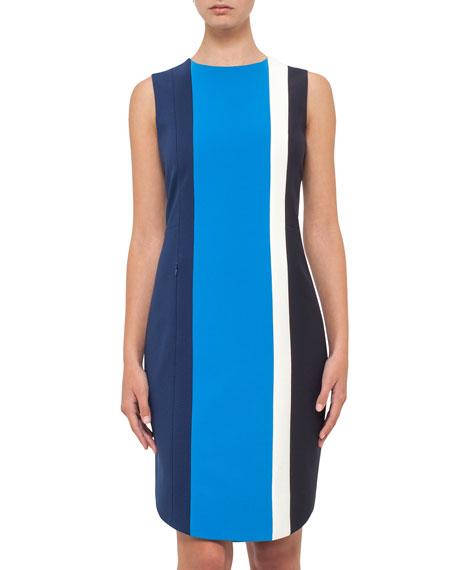 Colorblock Sleeveless Shift Dress, Deep Blue