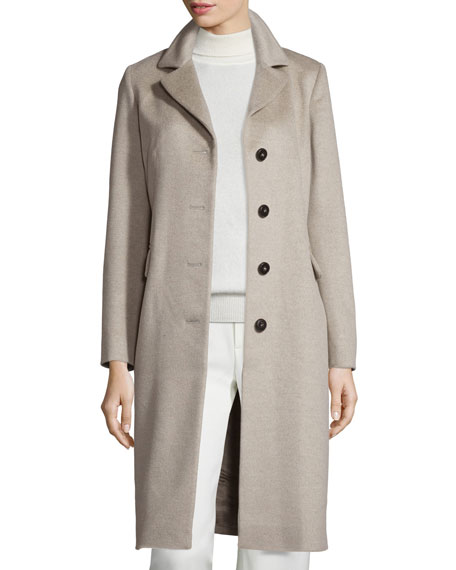 Four-Button Chesterfield Coat, Oatmeal
