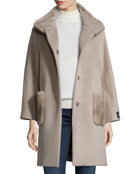 Mink Fur-Trim Coat, Oatmeal