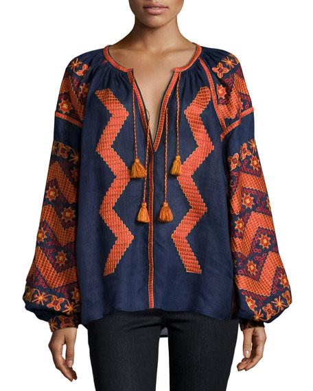 Long-Sleeve Embroidered Tassel-Tie Top, Navy/Orange