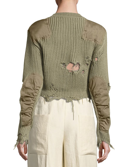 Destroyed Shoulder-Patch Sweater, Forest Green