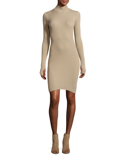Ribbed-Knit Mock-Neck Dress  Sand