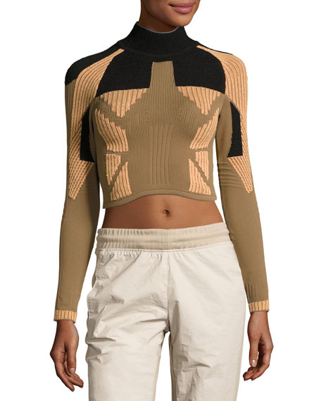 Ribbed Mock-Neck Crop Top, Taupe