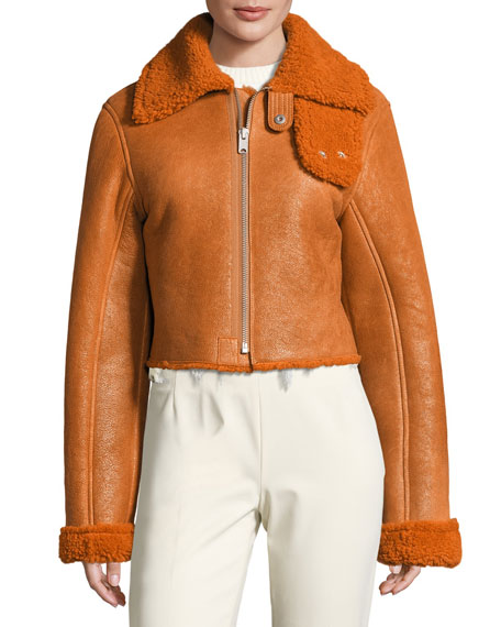 Cropped Shearling Bomber Jacket, Rust