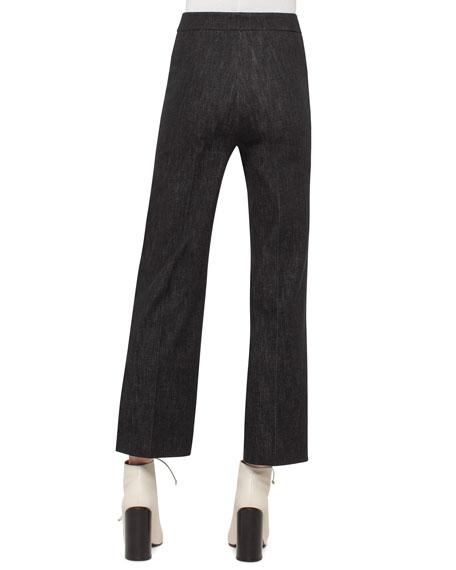 Cara Cropped Full-Leg Denim Pants, Black