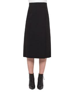 Faux-Wrap Skirt w/Pleated Back, Black