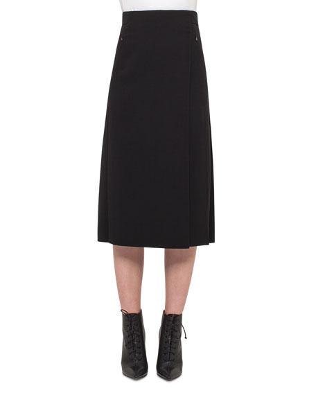 Akris Faux-Wrap Skirt w/Pleated Back, Black