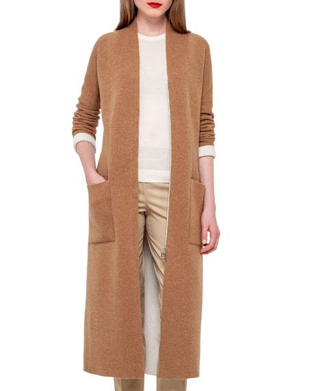Long Knit Reversible Car Coat, Camel/Moonstone