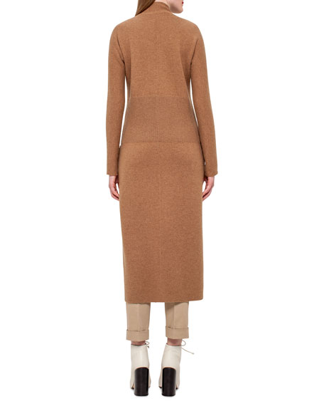 Long Knit Reversible Car Coat, Camel/Moonstone