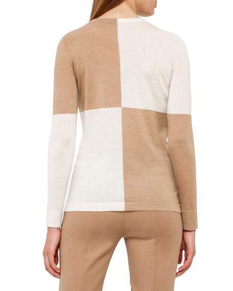 Colorblock Crewneck Sweater, Camel/Moonstone
