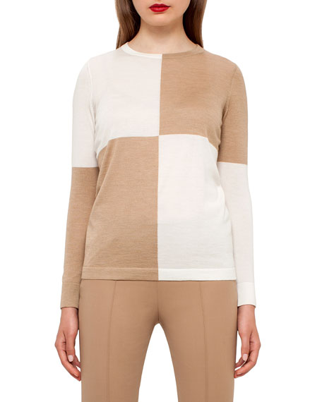 Colorblock Crewneck Sweater, Camel/Moonstone