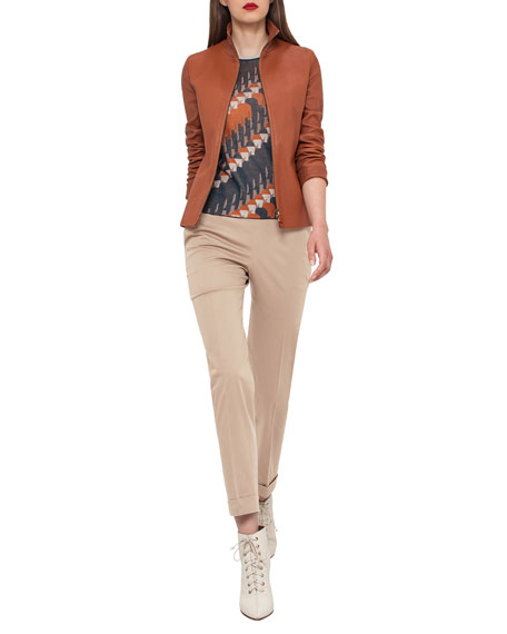 Haley Leather Zip-Front Jacket, Cigar
