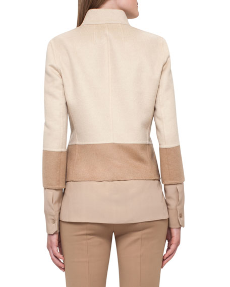 Reversible Colorblock Jacket, Camel/Ivory