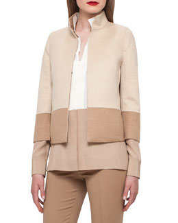 Reversible Colorblock Jacket, Camel/Ivory
