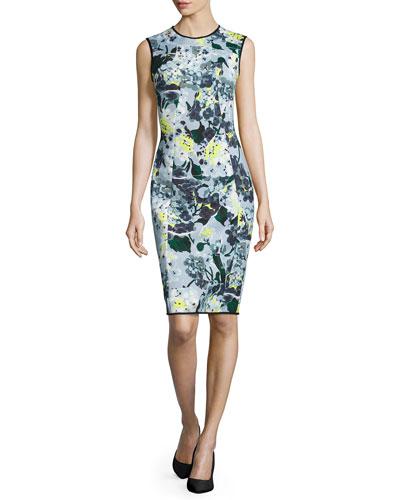 Maura Sleeveless Fitted Dress, Light Blue/Multi