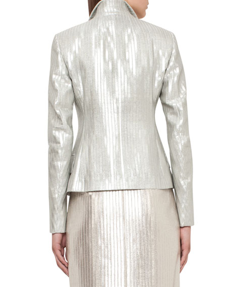 Ibis Fitted Metallic Jacket, Silver