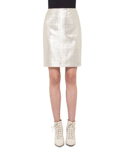 Pencil Metallic Skirt, Cremello