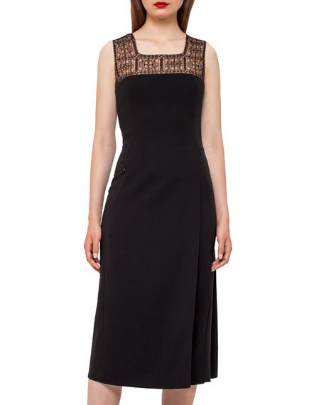 Square-Neck Godet-Pleated Dress, Black