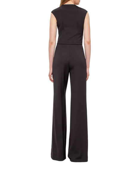 Silk Crepe Jumpsuit, Black