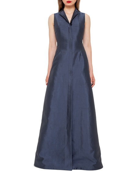 Akris Sleeveless Shantung Gown w/Back A-Cutout, Slate