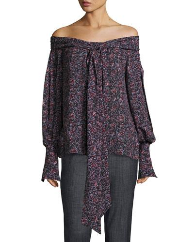 Mons Long-Sleeve Floral-Print Off-the-Shoulder Blouse, Purple