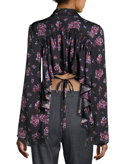 Orlean Floral-Print Ruffle-Back Crepe Blouse, Black/Purple
