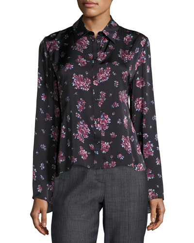 Orlean Floral-Print Ruffle-Back Crepe Blouse, Black/Purple