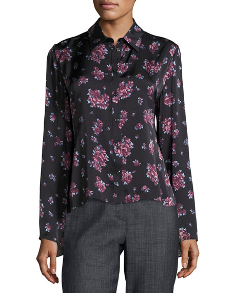Magda Butrym Orlean Floral-Print Ruffle-Back Crepe Blouse,
