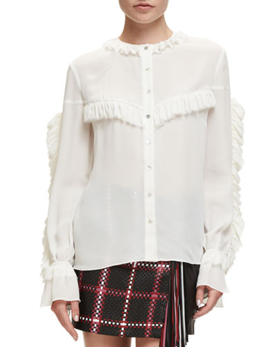 Bruges Long-Sleeve Ruffle Silk Blouse, Cream