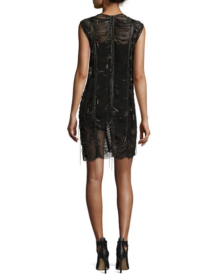 Bowie Braided Leather Mini Dress, Black