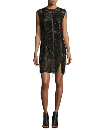 Bowie Braided Leather Mini Dress, Black