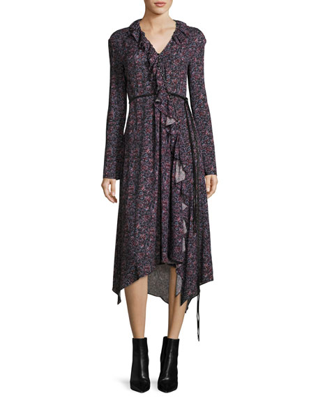 Magda Butrym Ferrara Long-Sleeve Floral-Print Silk Midi Dress,