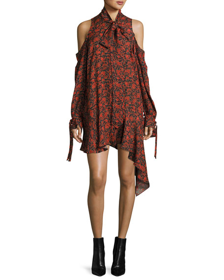 Magda Butrym Haifa Cold-Shoulder Floral-Print Tie-Neck Silk