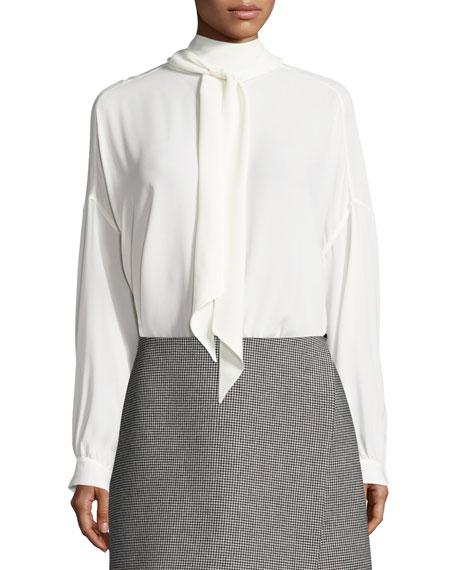Balenciaga Silk Crepe Tie-Neck Blouse, White