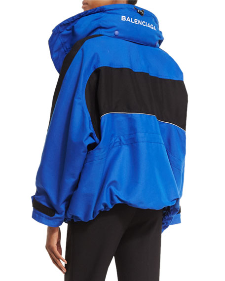 Off-the-Shoulder Tech Fabric Coat, Blue/Black