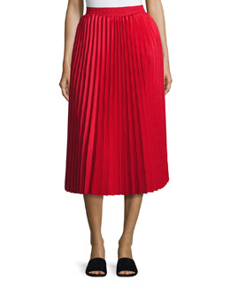 Accordion-Pleated Midi Skirt, Red